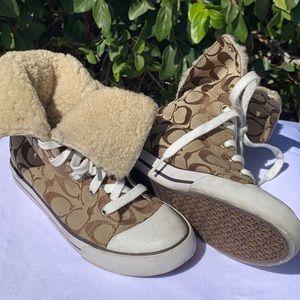 Vintage Coach Fur High Top Sneakers